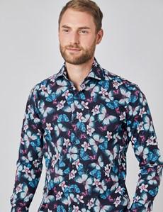 Casual Stretchhemd - Relaxed Slim Fit - Hoher Kragen - schwarz-pink Blumen & Schmetterlinge