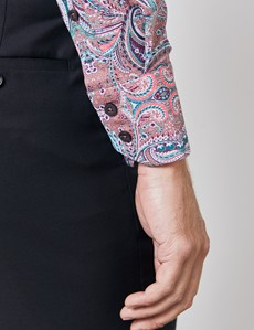 Casual Stretchhemd – Slim Fit – hoher Kragen – lila-türkis Paisley