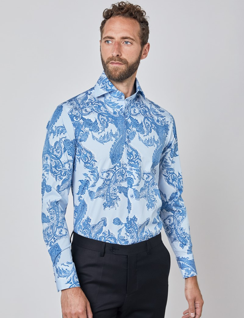 Casual Stretchhemd – Stretch Slim Fit – Hoher Kragen – blau Paisley