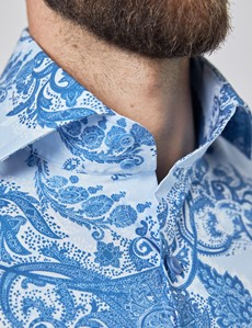 Men's Curtis Light Blue & Dark Blue Paisley Stretch Slim Fit Shirt - High Collar - Single Cuff