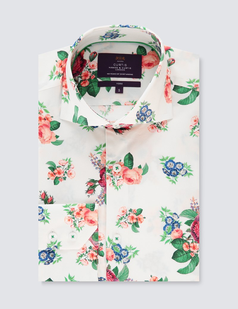 Men's Curtis Cream & Pink Multi Flowers Stretch Slim Fit Shirt - High Collar - Single Cuff