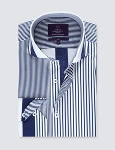 Casual Stretchhemd – Stretch Slim Fit – hoher Kragen – blau weiß Streifen