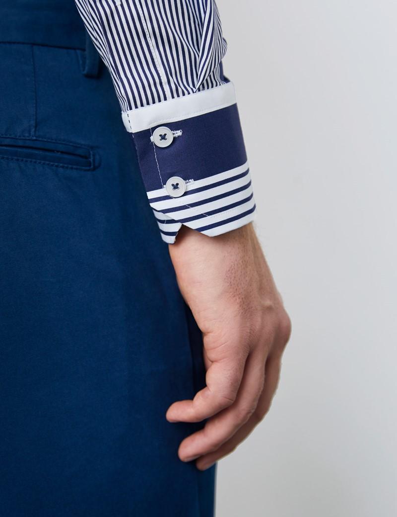 Men's Curtis White & Navy Stripes Stretch Slim Fit Shirt - High Collar - Single Cuff