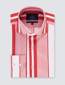 Casual Stretchhemd – Stretch Slim Fit – hoher Kragen – weiß rosa Streifen