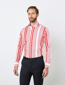 Men's Curtis White & Red Multi Stripes Stretch Slim Fit Shirt - High Collar - Single Cuff