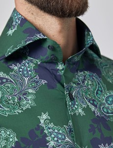 Men's Curtis Green & Blue Paisley Stretch Slim Fit Shirt - High Collar - Single Cuff