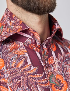 Men's Curtis Burgundy & Pink Floral Stripes Stretch Slim Fit Shirt - High Collar - Single Cuff