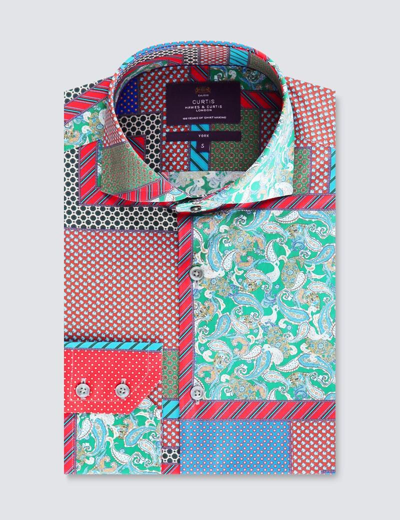 Men's Curtis Green & Red Rustic Patchwork Design Stretch Slim Fit Shirt - High Collar