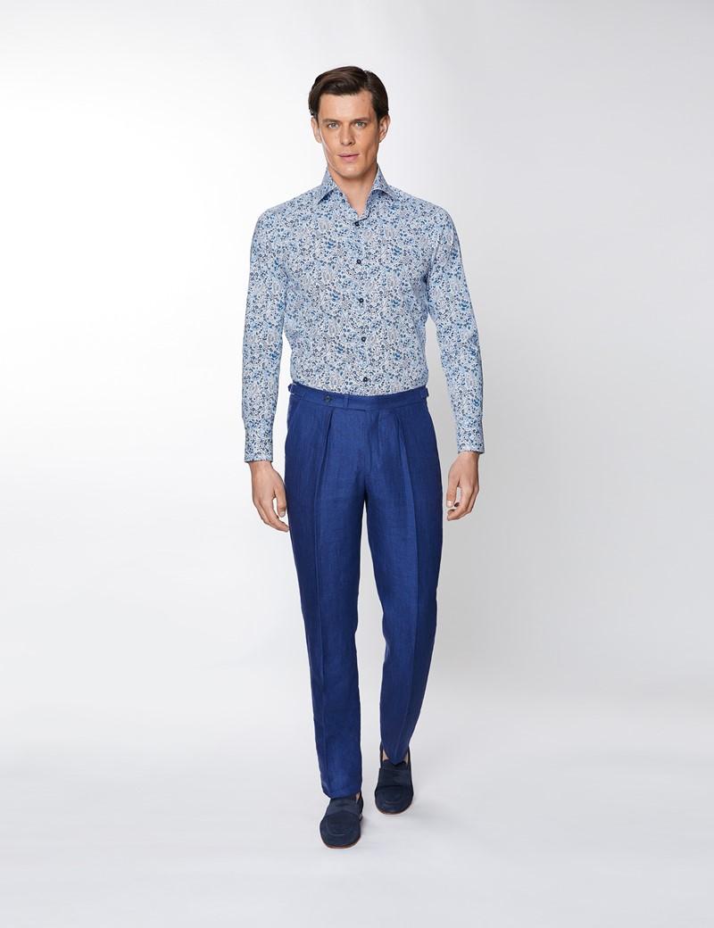 Men's Curtis White & Blue Paisley Design Stretch Slim Fit Shirt - High Collar