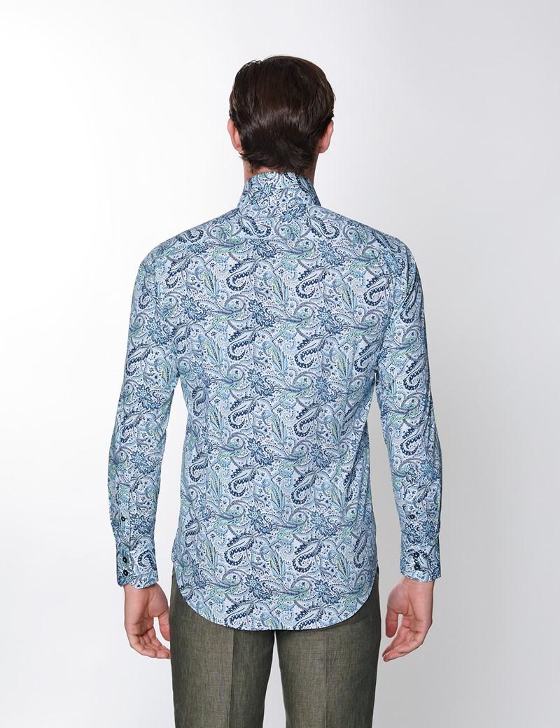 Men's Curtis Blue & Green floral Design Stretch Slim Fit Shirt - High Collar