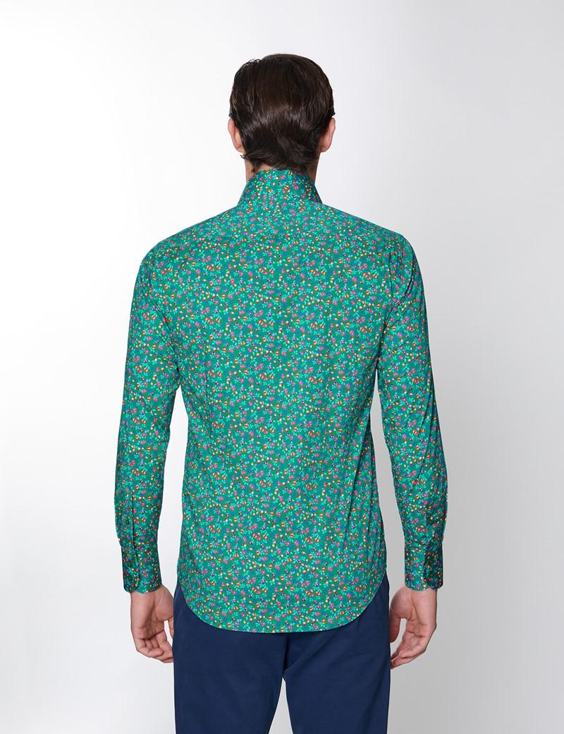Casual Stretchhemd – Stretch Slim Fit – Hoher Kragen – grün rot Blümchen