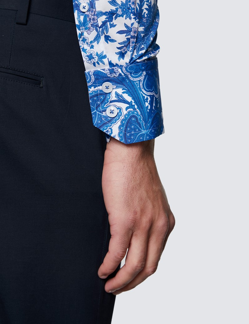 Men's Curtis Blue & White Floral Print Design Stretch Slim Fit Shirt - High Collar
