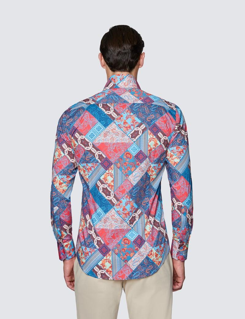 Men's Curtis Red & Blue Patchwork Design Stretch Slim Fit Shirt - High Collar