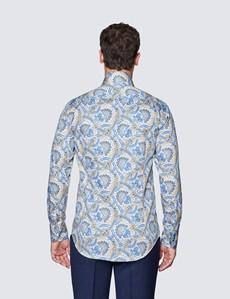 Men's Curtis Beige & Blue Paisley Print Shirt - High Collar