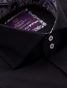 Men's Curtis Black Cotton Shirt - High Collar
