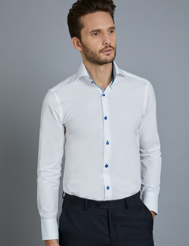 Men's Curtis White Slim Fit Shirt With Contrast Detail - High Collar - Single Cuff