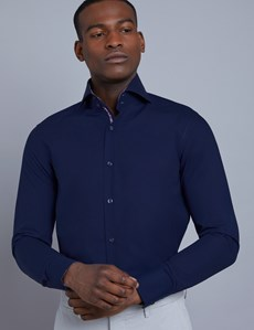 Men's Curtis Navy Slim Fit Shirt with Contrast Detail - High Collar - Single Cuff