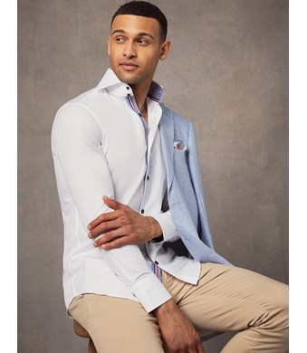 Men's Curtis Plain White Slim Fit Shirt with Contrast Detail - High Collar - Single Cuff