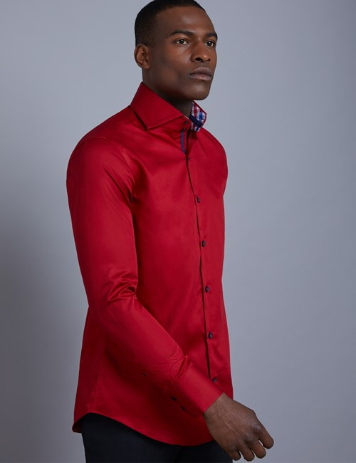 Men's Curtis Red Slim Fit Shirt With Contrast Detail - High Collar - Single Cuff