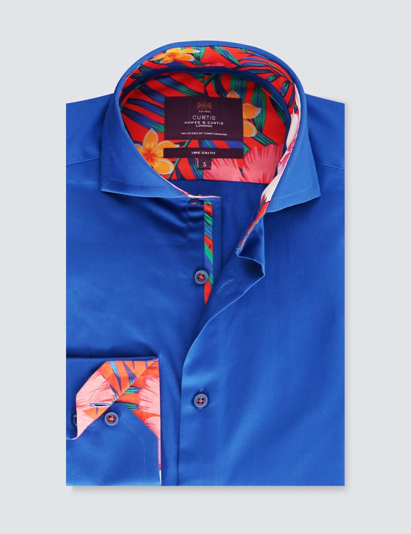 Men's Curtis Electric Blue Slim Fit Shirt With Contrast Detail - High Collar - Single Cuff