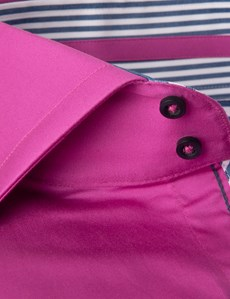 Men's Curtis Magenta Slim Fit Shirt With Contrast Detail - High Collar - Single Cuff