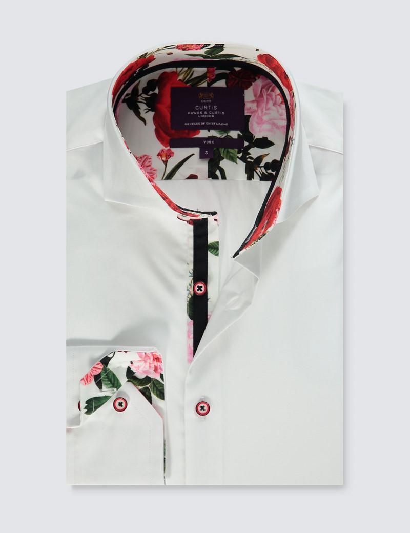 Men's Curtis White & Red Slim Fit Shirt - High Collar - Single Cuff