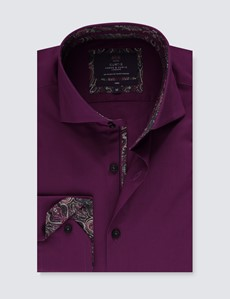 Men's Curtis Burgundy Slim Fit Shirt With Contrast Detail - High Collar - Single Cuff