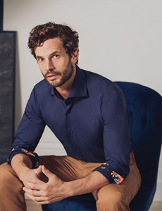 Men's Curtis Navy Relaxed Slim Fit Shirt With Contrast Detail and High Collar - Single Cuff