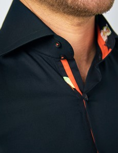 Men's Curtis Black Relaxed Slim Fit Shirt With Contrast Detail and High Collar - Single Cuff