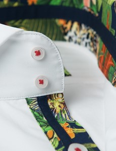 Men's Curtis White Relaxed Slim Fit Shirt With Tropical Contrast Detail and High Collar - Single Cuff