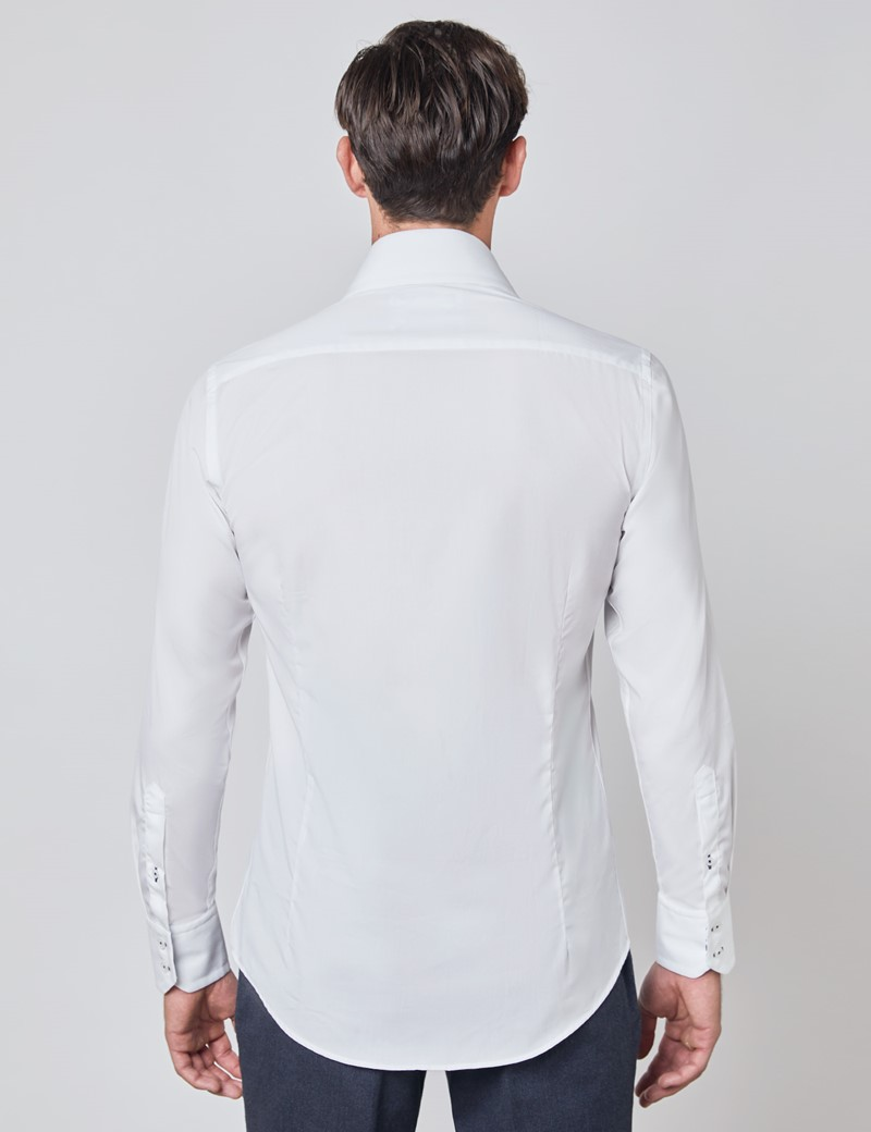 Men's Curtis White Relaxed Slim Fit Shirt With Contrast Detail and High Collar - Single Cuff