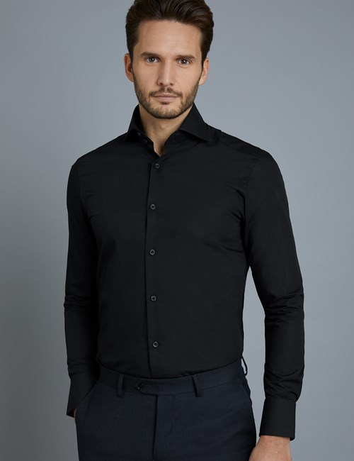 Men's Curtis Black Poplin Slim Fit Shirt - High Collar - Single Cuff
