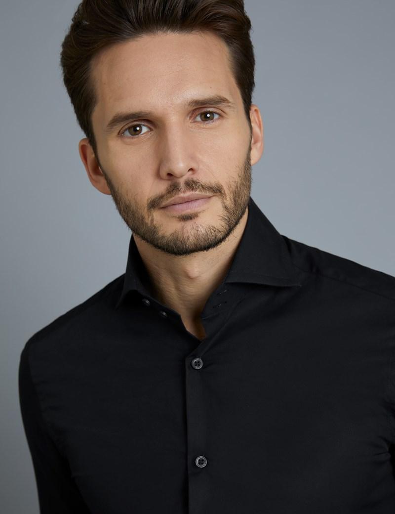 Men's Curtis Black Poplin Slim Fit Shirt - High Collar - Single Cuff