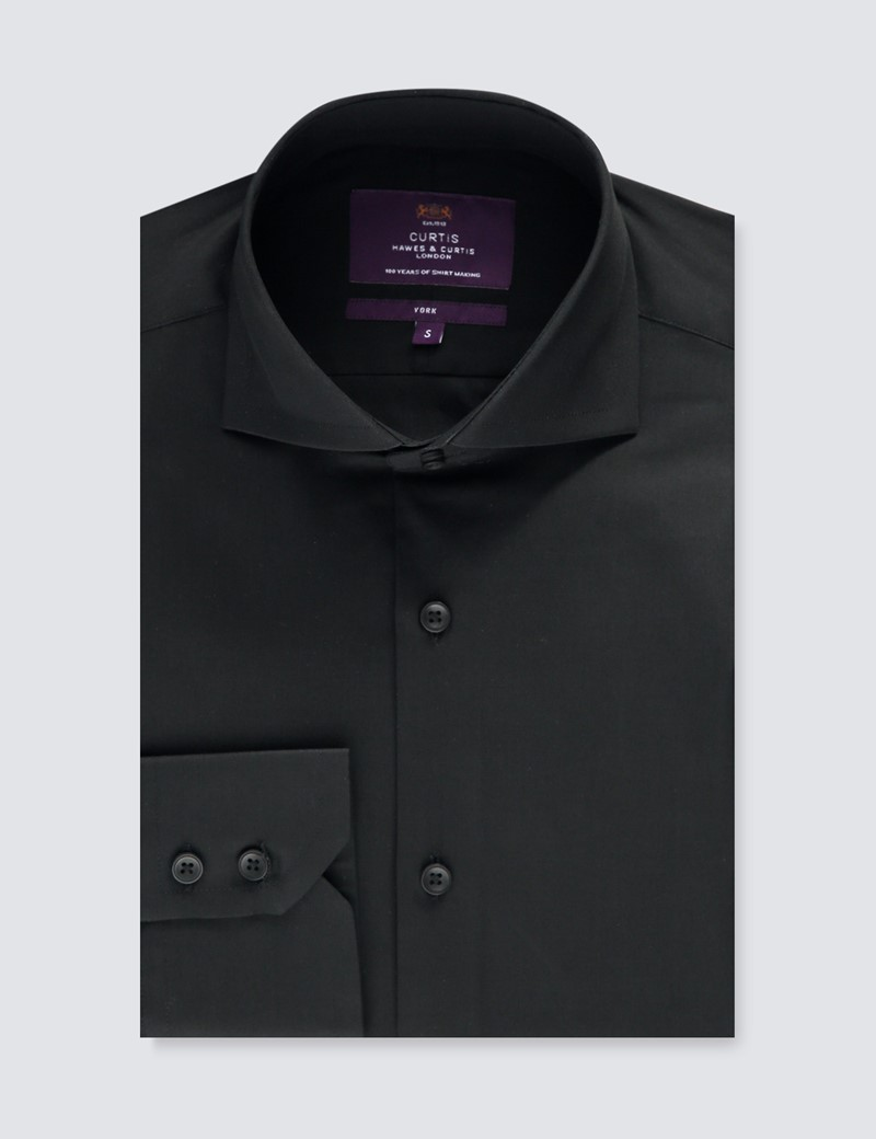 Men's Curtis Black Poplin Relaxed Slim Fit Shirt - High Collar - Single Cuff