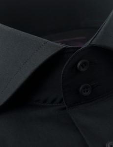 Casualhemd – Relaxed Slim Fit – Hoher Kragen – Popeline schwarz