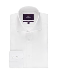 Men's Curtis White Poplin Slim Fit Shirt - High Collar - Single Cuff