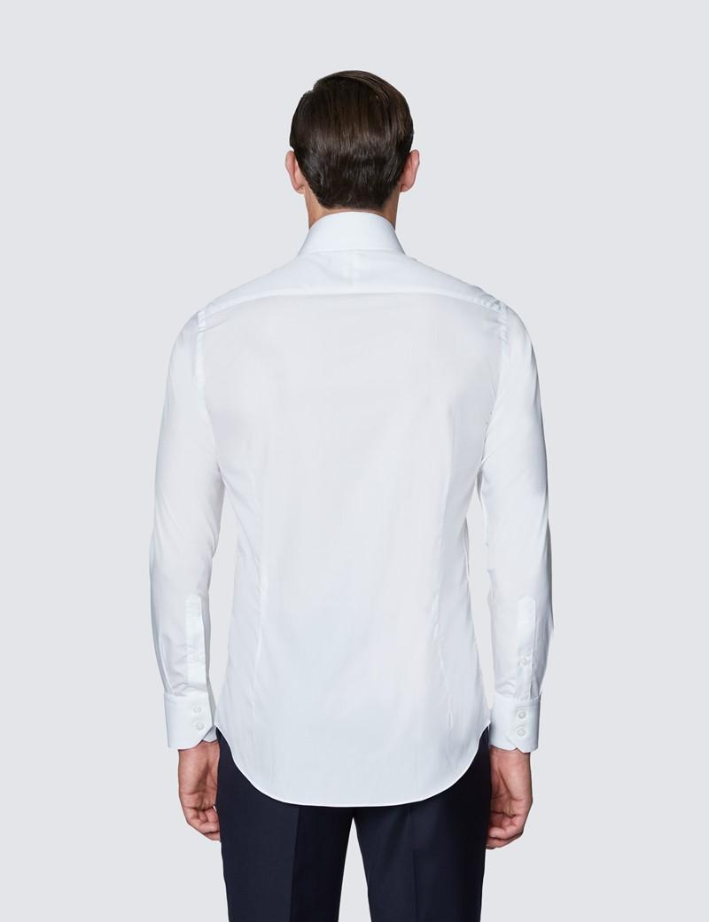 Men's Curtis White Poplin Relaxed Slim Fit Shirt - High Collar - Single Cuff