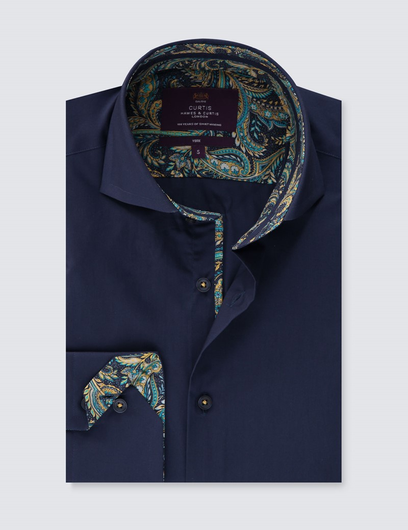 Men's Curtis Navy Slim Fit Limited Edition Shirt - High Collar - Single Cuff