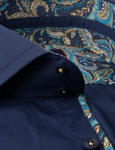 Men's Curtis Navy Slim Fit Shirt - High Collar - Single Cuff