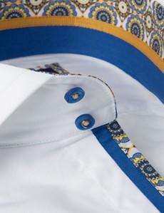 Men's Curtis White Poplin Slim Fit Shirt - High Collar - Single Cuff
