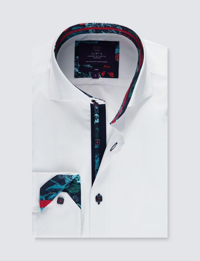 Men's Curtis White Cotton Poplin Slim Fit Shirt - High Collar - Single Cuff