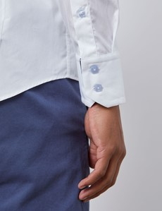 Casualhemd Limited Edition – Slim Fit – Hoher Haifischkragen – weiß mit Kontrasten