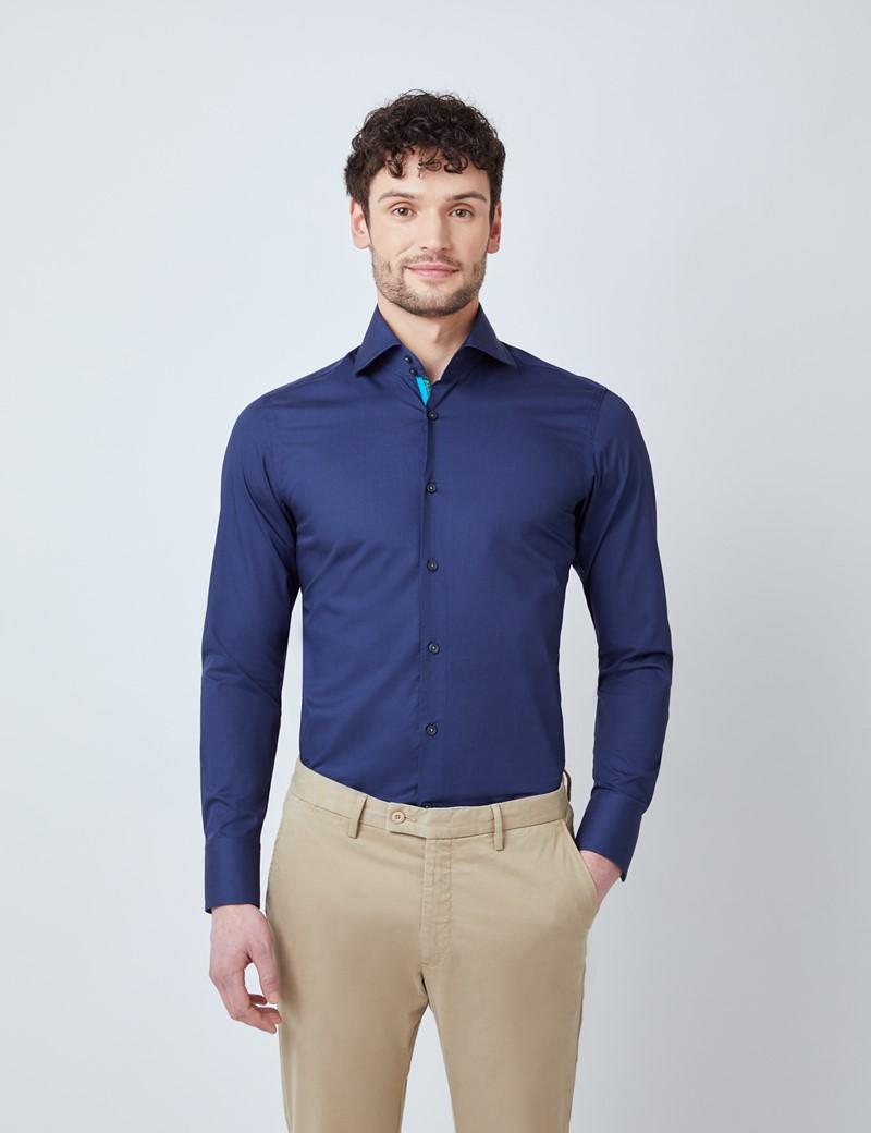 Men's Curtis Navy Poplin Relaxed Slim Fit Shirt - High Collar - Single Cuffs