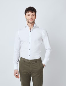Men's Curtis White Poplin Contrast Relaxed Slim Fit Shirt - High Collar - Single Cuff