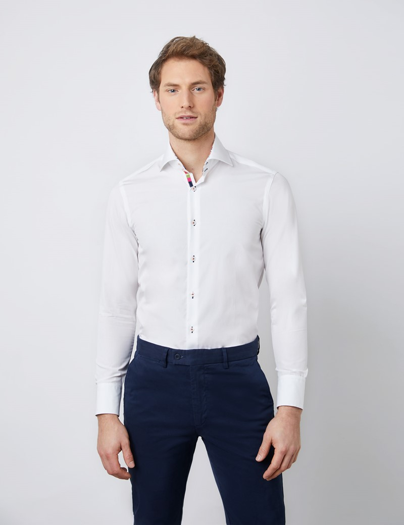 Men's Curtis White Poplin Relaxed Slim Fit Shirt - High Collar - Single Cuff