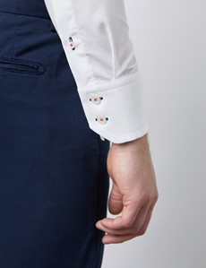Casualhemd – Slim Fit – Hoher Kragen – weiß mit floralen Kontrasten
