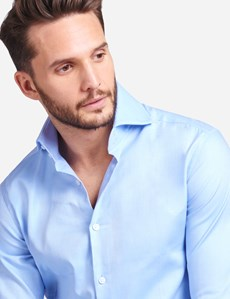 Men's Curtis Blue Twill Relaxed Slim Fit Shirt - High Collar - Single Cuff
