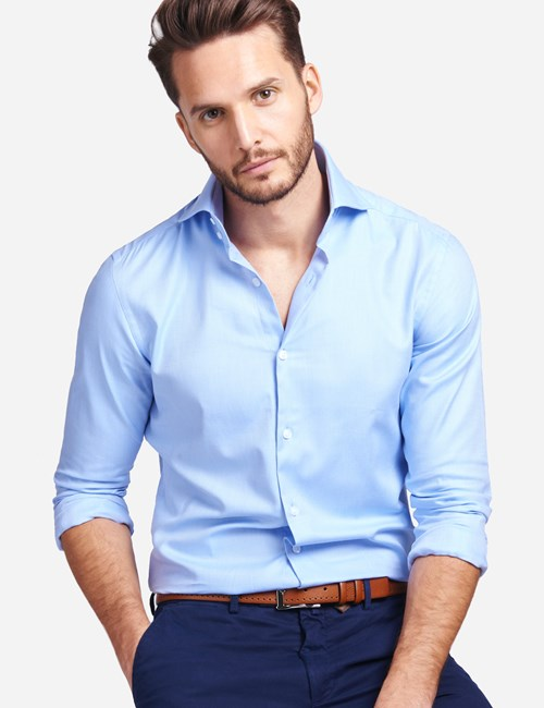 Men's Curtis Blue Twill Slim Fit Smart Casual Shirt - High Collar - Single Cuff