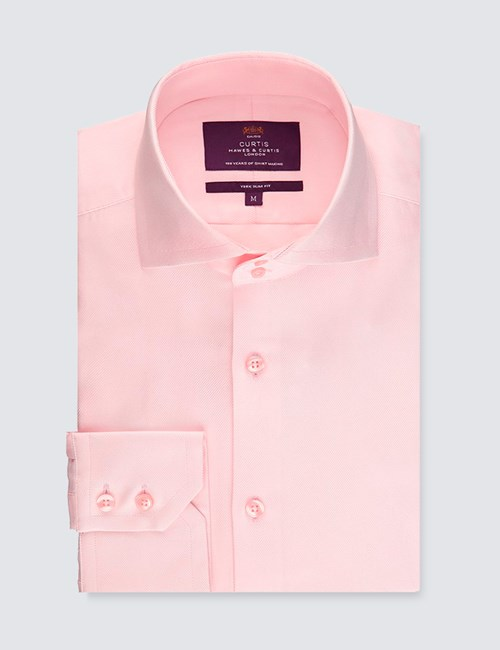 Curtis Light Pink Twill Slim Fit Men's Smart Casual Shirt - High Collar