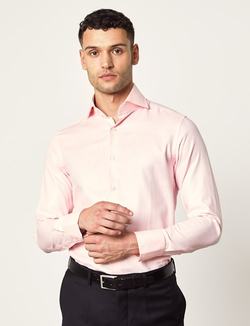 Men's Curtis Light Pink Twill Slim Fit Shirt - High Collar - Single Cuff